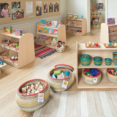 This large complete classroom pack enables you to establish 12 areas of provision using low-level furniture, resource pa Preschool Classroom Layout, Eyfs Classroom, Preschool Rooms, Classroom Setting, Preschool Library Center, Preschool Block Area, Preschool Set Up, Reading Corner Classroom, Reggio Emilia Classroom