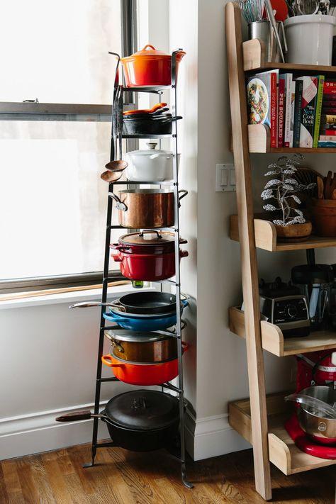 The Glorious Generosity of Carla Hall Kitchen Organization, Kitchen Storage, Kitchen Decor, Kitchen Racks, Kitchen Ideas, Pot Rack Hanging, Hanging Pots, Pot Storage, Storage Rack