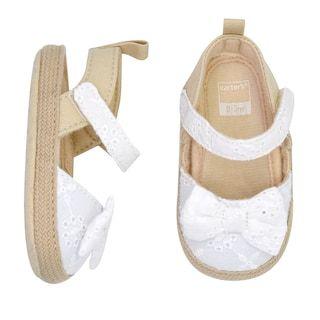 Eyelet Bow Sandal Crib Shoes