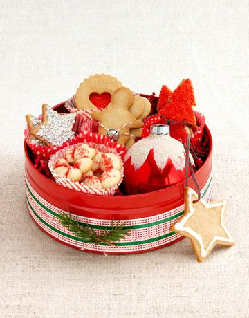 For gifting Christmas cookies - place each one in different cupcake liner and add an ornament into the mix!