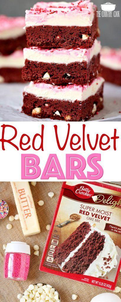 Easy Red Velvet White Chocolate Chip Bars Recipe Chocolate