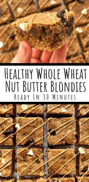 Double Chocolate Peanut Butter Blondies Healthy 30 Minute Recipe Recipe Chocolate Nut Butter Peanut Butter Dessert Recipes Peanut Butter Blondies Recipe