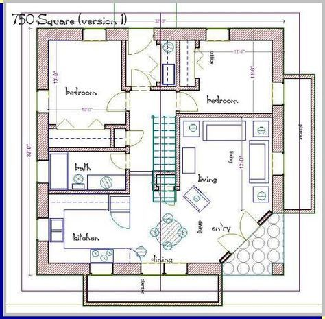 750 Square Foot House Plans Straw Bale House Plan 750 Sq Ft House Plans House Floor Plans Tiny House Plans