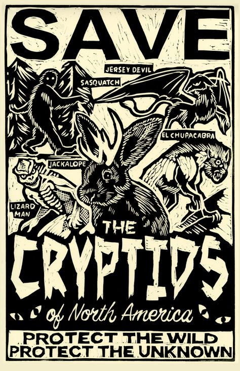 Save The Cryptids Framed Art Print by Mj Saunders - Vector Black - Mythological Creatures, Fantasy Creatures, Mythical Creatures, Myths & Monsters, Mothman, Ghost Hunting, Urban Legends, You Draw, Creepy