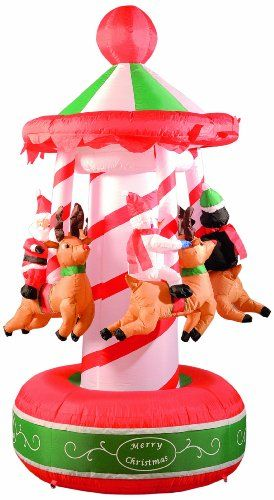 180cm (6ft) inflatable carousel with santa, penguin and snowman riding reindeers led bulb inside self inflating
