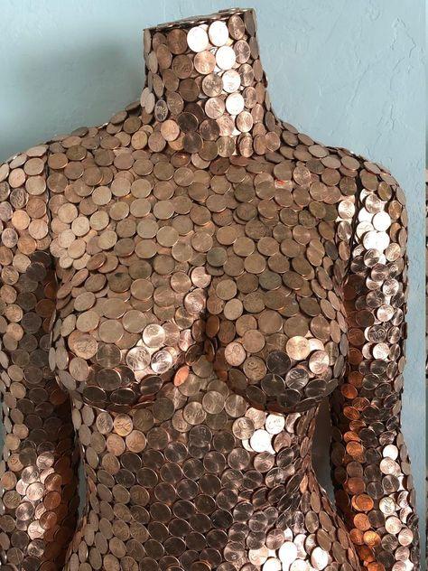 PENNY MANNEQUIN Artwork Sculpture, Full dimension model artwork, distinctive, one in all a sort, Pennies Art Mannequin, Mannequin Torso, Metal Art Projects, Scrap Metal Art, Fathers Day Crafts, Welding Art, Mosaic Art, Altered Art, Diy Art