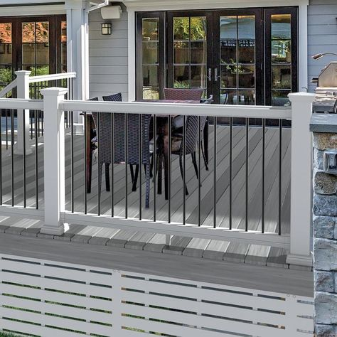 Freedom Assembled 8 Ft X 3 Ft Prescot White Pvc Deck Railing Kit With Balusters At Lowes Com Pvc Decking Deck Railings Deck