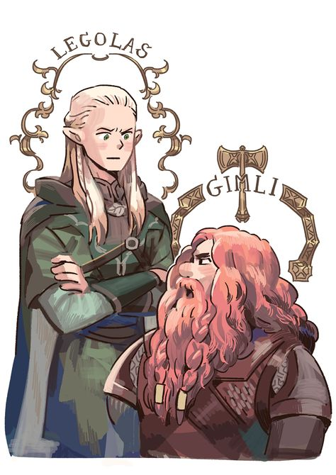 Gimli and Legolas Legolas Und Gimli, Fili Et Kili, Jrr Tolkien, Fanart, Lotr, Bagginshield, Nerd, Lord Of The Rings, Middle Earth