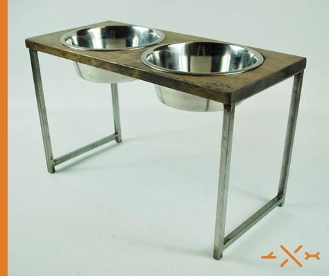 Dog Dish Feeding Stand Raised dog dish Industrial by StickandBone