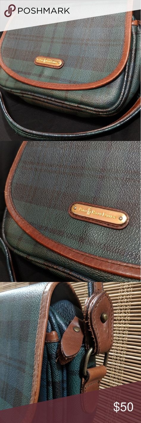 357ff55468e6 ✨Vintage POLO RALPH Lauren Green Plaid Flap Purse✨ Vintage POLO RALPH  Lauren Green Plaid