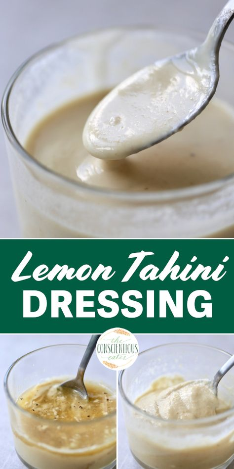 This easy to prepare, zesty and creamy Lemon Tahini Dressing is my go-to salad dressing whenever I'm in a pinch! We use it as a dressing for salads, drizzle it on wraps and drink it straight from the jar! #tahinidressings #lemontahinidressing #homemadedressing #creamyvegandressings #tahini