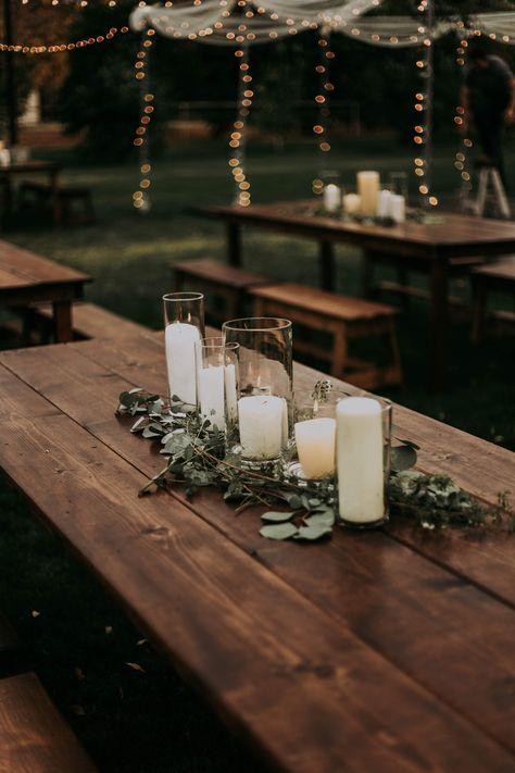 Farm Table Decor, Rustic Table Centerpieces, Farm Tables, Rustic Centerpiece Wedding, Rustic Farm Table, Rustic Candles, Rustic Theme, Farmhouse Table, Farm Table Wedding