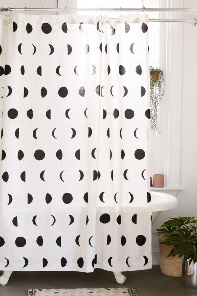Moon Phase Block Print Shower Curtain Bathroom Shower Curtains Curtain Designs Curtains