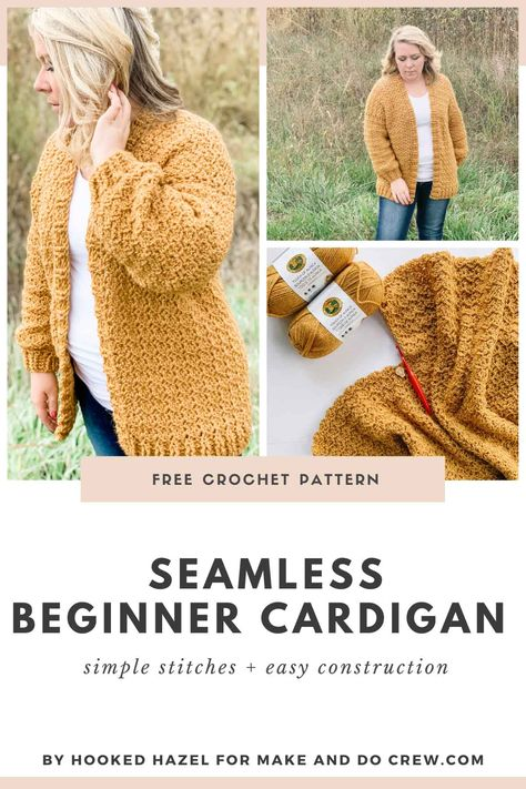 (Nearly) seamless crochet cardigan - versitile free pattern for beginners - - This nearly seamless crochet cardigan is perfect for sweater-making newbies who want to spend more time crocheting and less time seaming. Knit Cardigan Pattern, Crochet Jacket, Crochet Shawl, Knit Crochet, Crochet Cardigan Pattern Free Women, Diy Crochet Cardigan, Sweater Cardigan, Crochet Pattern Free, Crochet Patterns Free Women