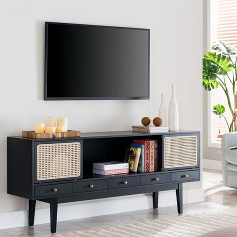 Tv Console Modern, Console Tv, Midcentury Modern Tv Stand, West Elm Media Console, Black Tv Console, Record Player Console, Modern Bookshelf, My Living Room, Living Room Furniture