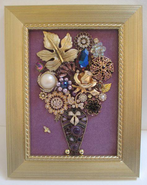 Vintage brooch art bead hanging elements
