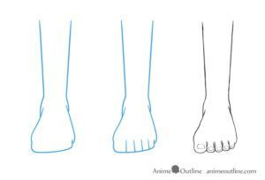 Anime Feet Drawing In Front View Feet Drawing Anime Drawings Drawing Legs