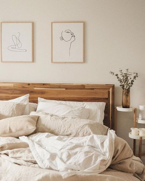 We just can't get enough of this beautiful bedroom decor by @jessmegan  ---- Bedroom decor   White and wood decor   DIY Home Decor   Wall Art   Gallery Wall Ideas   Home Decor ideas, bedroom inspo decor   Graphic design, line art, illustration, abstract, women   Modern decor, scandinavian decor, nordic decor