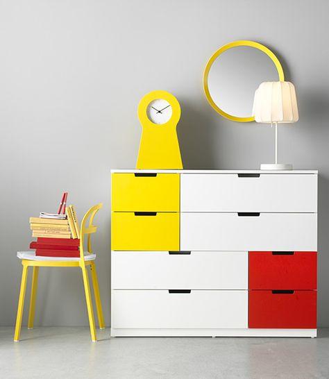 Ikea Ladekast 8 Lades.Nordli Ladekast 8 Lades Wit Rood Geel Ikea Nursary Catalogo