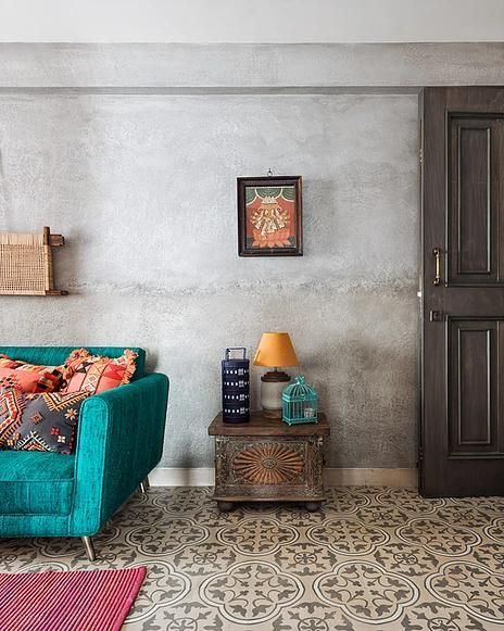The Thakurs Colorful Home Is An Ode To Rich Fabrics And Patterned Floors Dress Your Home Tile Floor Living Room Wall Tiles Living Room Living Room Tiles