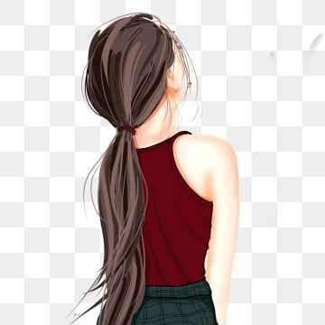 Hand Drawn Beautiful Long Haired Girl Back Character Design Girl Clipart Hand Painted Beautiful Png Transparent Clipart Image And Psd File For Free Download Long Hair Styles Long Hair Girl How