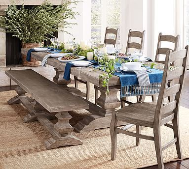 Banks Dining Bench Gray Wash Potterybarn Dining Table With