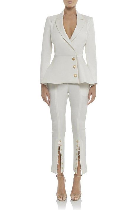 White Peplum Gold Button Blazer
