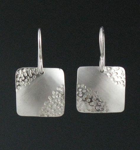 Items similar to Modern Silver Square Zen Earrings,