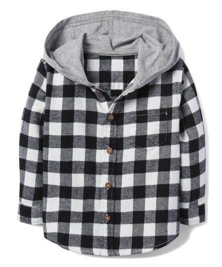 103bc6592 Gymboree Black Checkerboard Hooded Flannel Button-Up - Infant ...
