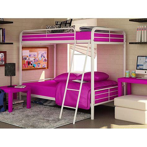 Dorel Twin Over Twin Metal Bunk Bed White Kids Teen Rooms