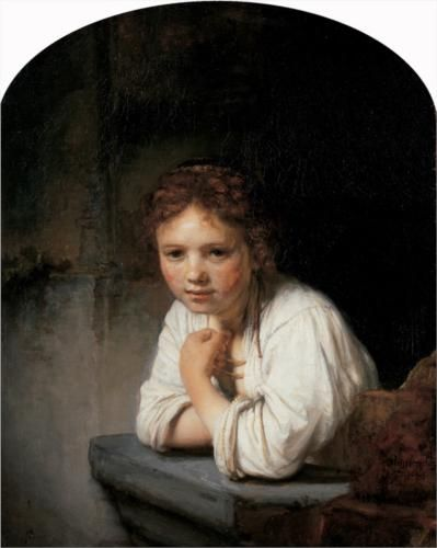 Girl in the Window (1645) - Rembrandt http://upload.wikimedia.org/wikipedia/commons/d/d5/Rembrandt_Harmensz_van_Rijn_-_Girl_at_a_Window_-_Google_Art_Project_-_edited.jpg - More at http://commons.wikimedia.org/wiki/Rembrandt/Paintings (Thx Julie M)