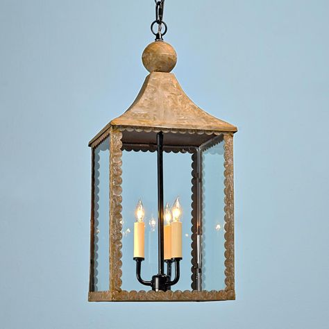 Scallop Trim Hanging Lantern.  Weathered look.  Pink, White, Aqua or weathered metal.  Perfect for a little girl's room or your covered porch.  Hanging light fixture.