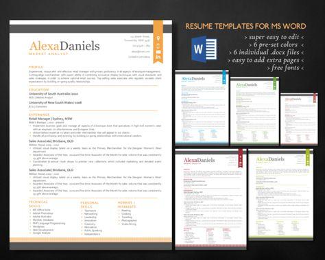 3 in 1 modern Word resume pack ~ Resume Templates on Creative - mis resume