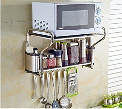 2 Layer Stainless Steel Microwave Oven Wall Mount Shelf With Removable Item 020148 Review Wall Mounted Shelves Stainless Steel Microwave Mounted Shelves