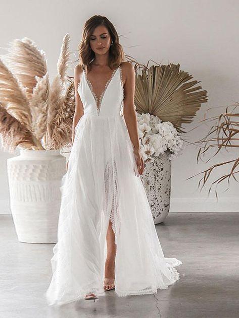 Women's Strap Dress Maxi long Dress White Sleeveless Solid Color Split Lace Fall Winter V Neck Elegant Sexy S M L XL