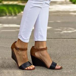 Elegant Chunky Low Heel Comfort Women Summer Sandals ESPADRILLES  Wedge Heel Toe