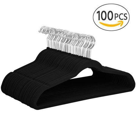 100x 360 Degree Non Slip Velvet Clothes Suit Shirt Pants Hangers Black 17 7 X 9 3 X 0 2 Inch Capacity 7lb Walmart Com Clothes Hanger Hooks Velvet Clothes Clothes Hanger