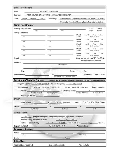 Use this sample registration form as a guide to get participants - employee registration form
