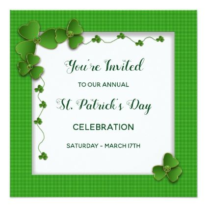 St Patrick S Day Party Invitation Shamrocks Zazzle Com Party Invitations Invitations Shamrock Party