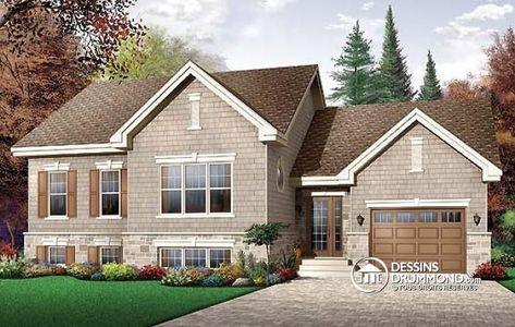 Bungalow à paliers de 2 chambres avec grande cuisine et garage simple   Découvrez les planchers, plus d'information & les plans similaires ici : http://www.dessinsdrummond.com/detail-plan-de-maison/info/1002130.html