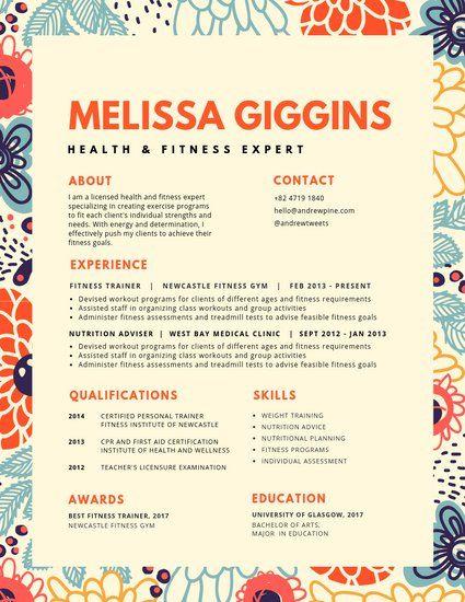Illustrated Floral Pattern Border Colorful Resume Infographic Resume Creative Cv Resume Design Template