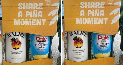 You can get a pack containing one 1.75-liter bottle of Malibu Rum and one can of Dole Pineapple Juice. So, 'spend less time prepping and more time sipping'.