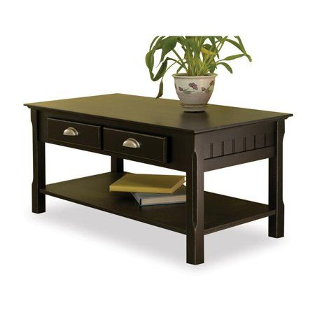 Terrific Black Beechwood Coffee Table Two Drawers One Bottom Shelf Cjindustries Chair Design For Home Cjindustriesco