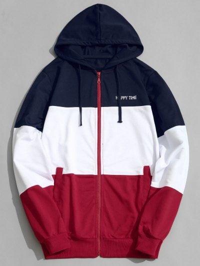 Gnao Mens Sweatshirt Fashion Hooded Pockets Drawstring Color Block Hoodie