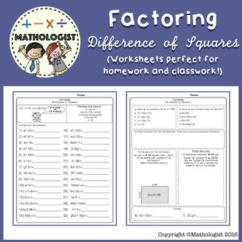 Factoring Algebra Difference Of Squares Worksheets Square Worksheet Worksheets Printable Worksheets