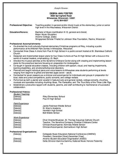 Elementary Music Teacher Resume Example - http\/\/resumesdesign - clinical dietitian resume