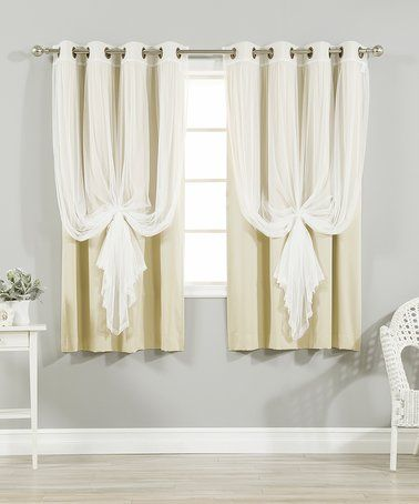Love This Beige Tulle Blackout Short Curtain Panel Set Of Four