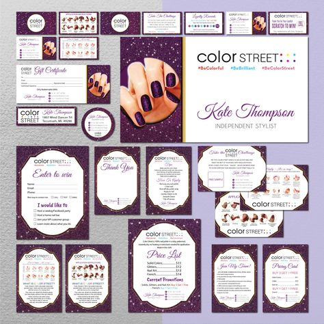 Color Street Marketing Bundle, Personalized Color Street Nail Cards CL183 - Full Kit 16 items / 24 hours