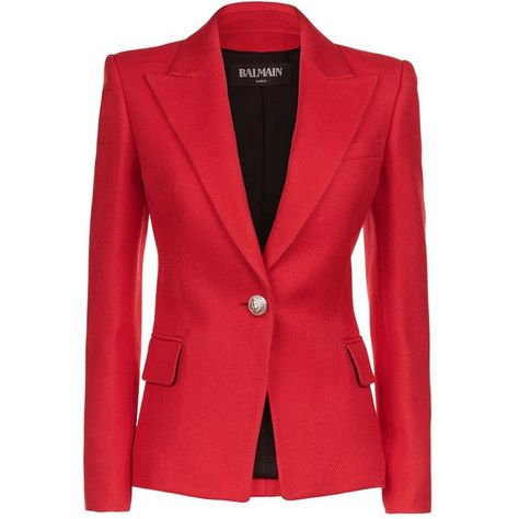 d3b29e7d Balmain Embossed One Button Blazer (€1.615) ❤ liked on Polyvore featuring  outerwear, jackets, blazers, one button jacket, red jacket, red blazer,  blazer ...