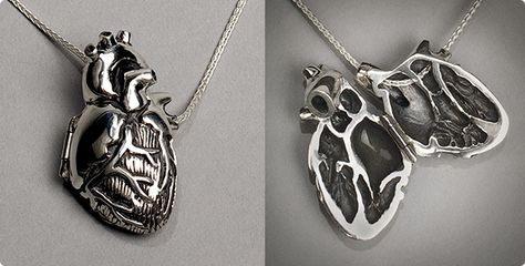 Peggy Skemp Original Silver Anatomical Heart Locket | The piece is pretty straightforward: It's a heart, but an anatomical one. It opens and closes like a traditional locket and snaps shut. Handmade in the USA by Peggy Skemp Jewelry, the locket is one of a handful of pieces that depict other dark oddities such as tentacles, snakes, and fungi. The jewelry is unisex and would make a great gift for a variety of friends who like baubles, not just those who are inclined toward the weird.